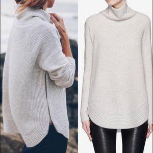 VINCE Side-Zip Ribbed Turtleneck Sweater - Size S